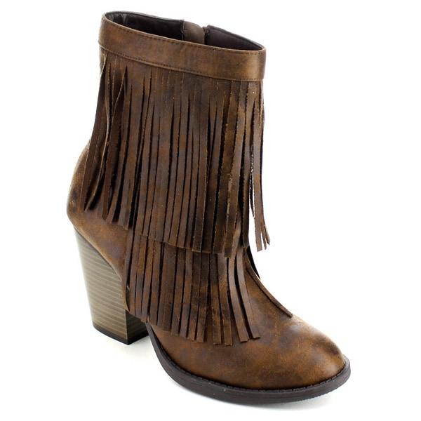 Soda Strong Women's Double Fringe Side Zip Stacked Block Heel Mid-calf Boots
