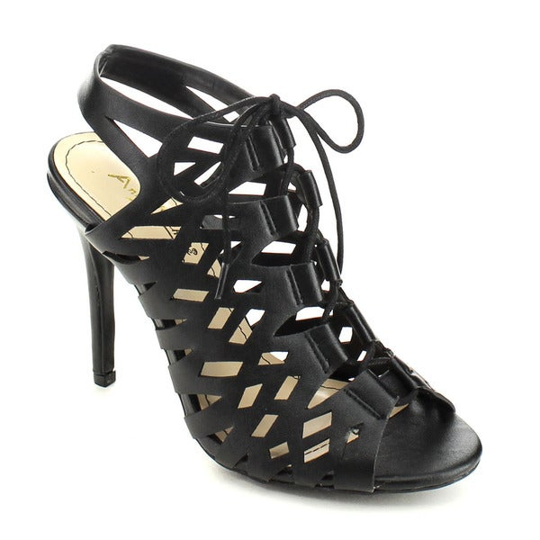 Anne Michelle Princess-19 Women's Cut Out Lace Up Stiletto Caged Style Heels