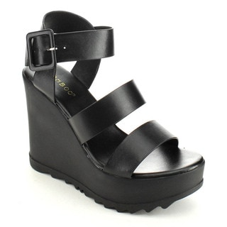 Bamboo Charge-07 Women's Ankle Strap Platform Wedges