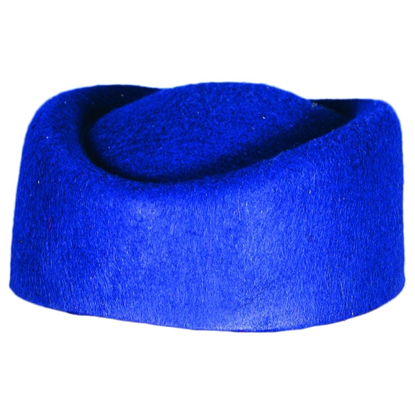 Retro Blue Pillbox Hat Costume Accessory