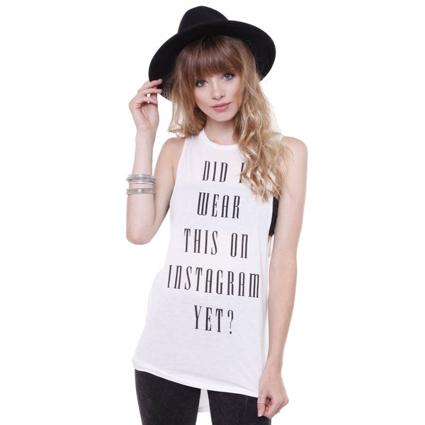 The Classic Wta0720 Junior's Graphic Print White Tunic Tank Top