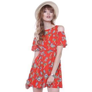 Color Thread N1351-d6314 Junior's Orange Tropical Print Dress