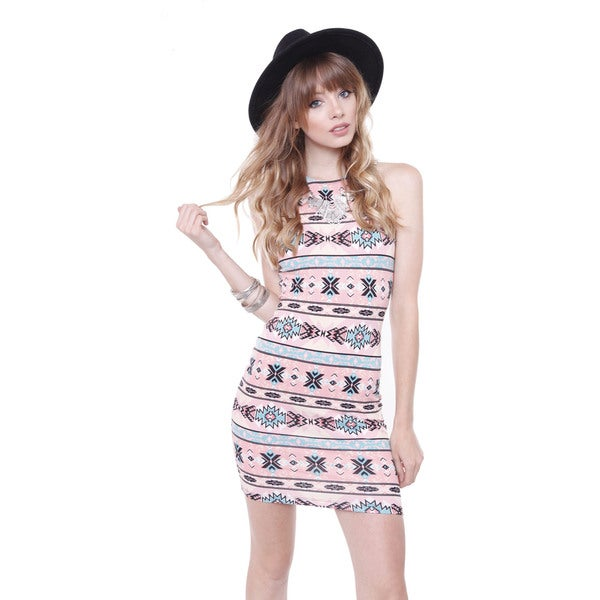 Iris Id1947-186 Junior's Coral Aztec Print Midi Trendy Bodycon Dress