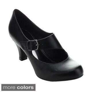 Styluxe Ultra-low-08 Women's Middle Heel Slip On Heels