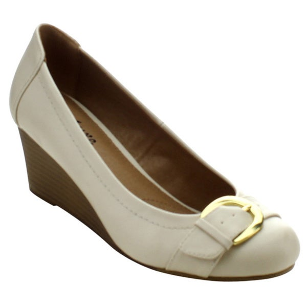 Styluxe Fratell-08 Women's Closed Round Toe Buckle Slip On Wedge