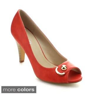 Styluxe Baisi Women's Open Peep Toe Stacked Heel