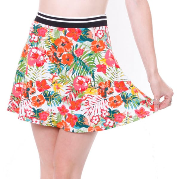Love Tree L27119sh Junior's Bright Tropical Sporty Skater Skirt