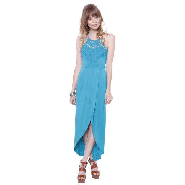 Pure Hype Junior's 114869a-z02 Teal Maxi Halter Dress