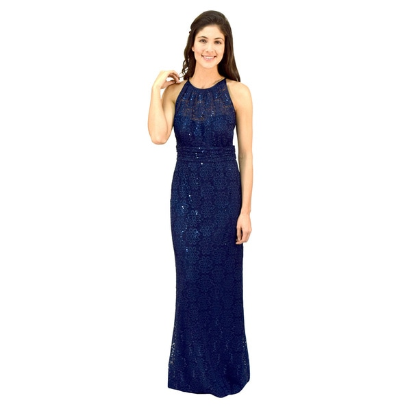 R&M Richards Lace Cut Away Evening Gown