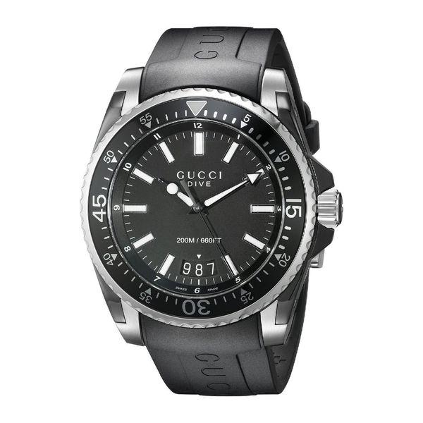 Gucci Men's YA136204 'Dive' Black Dial Black Rubber Strap Swiss Quartz Watch
