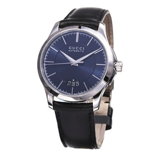 Gucci Men's YA126443 'Timeless' Blue Dial Black Leather Strap Swiss Automatic Watch