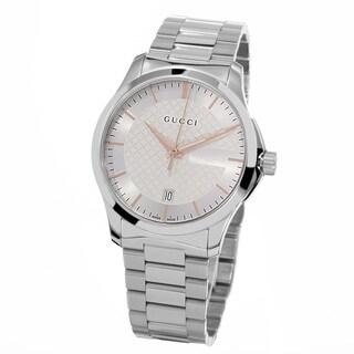 Gucci Women's YA126442 'Timeless' Silver Dial Stainless Steel Medium Swiss Quartz Watch