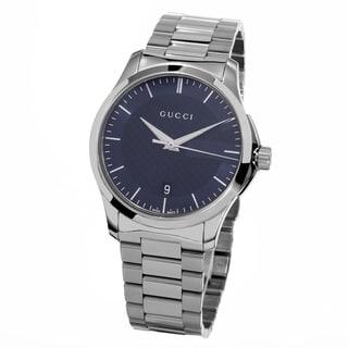 Gucci Women's YA126440 'Timeless' Blue Dial Stainless Steel Medium Swiss Quartz Watch