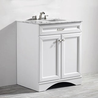 Naples 30 inch Single Vanity in White with Carrera White Marble Top without Mirror