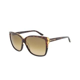 Tom Ford FT0228 05F Lydia Oversized Shield Sunglasses - Tortoise Frame and Yellow Gradient Lenses
