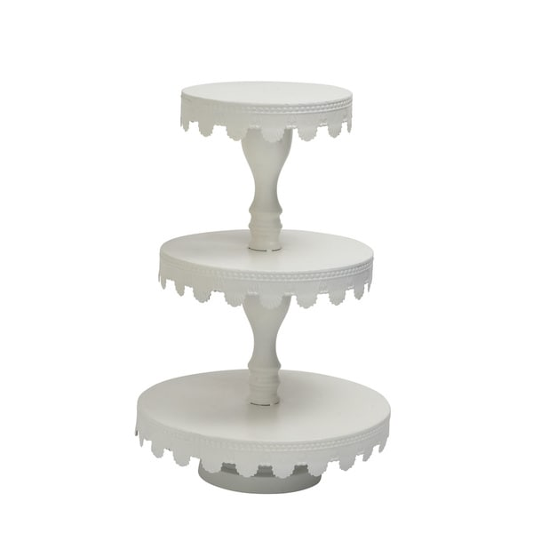 White 3-tier Metal Cup Cake Stand