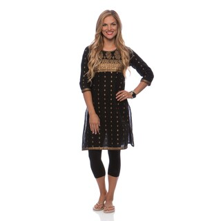 Mohrpankh Women's Gold Outline Print Kurta Tunic (India)