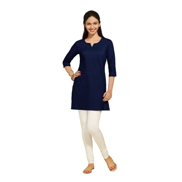 Indian Clothing Women's Pintuck Kurta Plain Tunic (India)