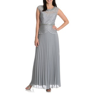 Ignite Evenings By Carol Lin Women's Peplum Crystal Accordion Skirt Evening Gown