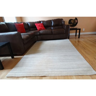 Hand-tufted Natural Grey Wool Rug (8'x11')