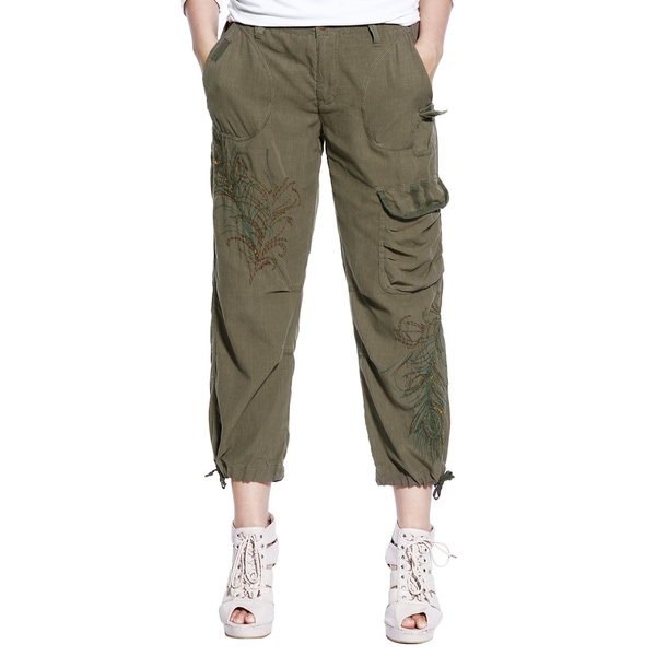 Da Nang Women's Silk Blend Stretch Cargo Ankle Crop Capris
