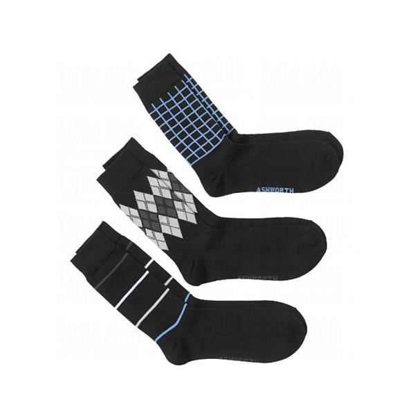 Ashworth Mens Crew Socks Black Series (2 pack of 3)