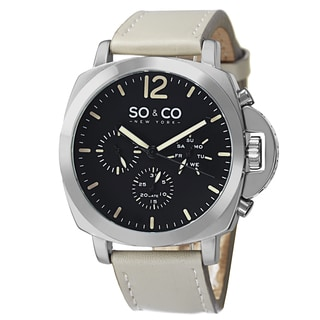 SO&CO New York Men's SoHo Quartz Leather Strap Watch