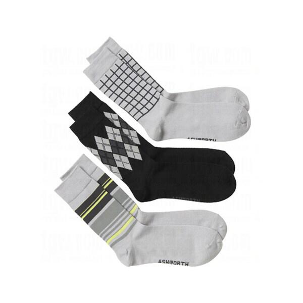 Ashworth Mens Crew Pebble Series Socks (2 packs of 3)