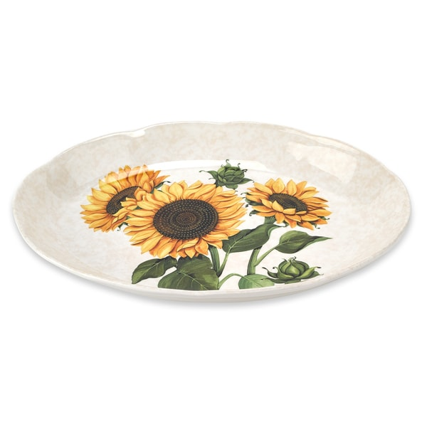 "Lorren Home Trends Sunflower 16"" Oval Platter Made In Italy"