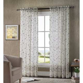 Ashley Floral Printed Crushed Voil Sheer Window Panels