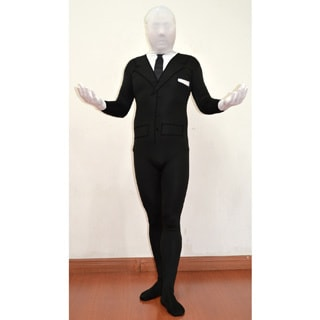 Kids Spandex Body Black Suit Slenderman Costume