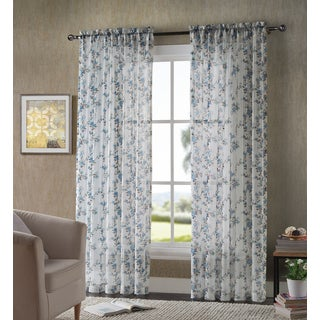 VCNY Lilliana Floral Printed Crushed Voil Sheer Curtain Panel Pair