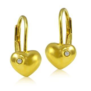 ICZ Stonez 18k Gold over Silver Cubic Zirconia Heart Children's Leverback Earrings