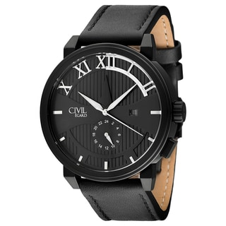 Egard Men's CVL-SHD-BLK Shade Round Black Leather Strap Watch