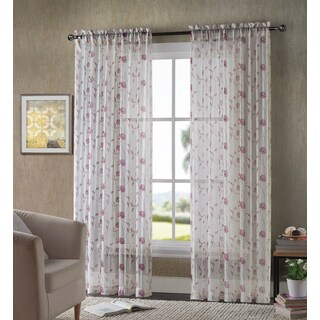VCNY Antoinette Printed Crushed-Voil Sheer Curtain Panel Pair