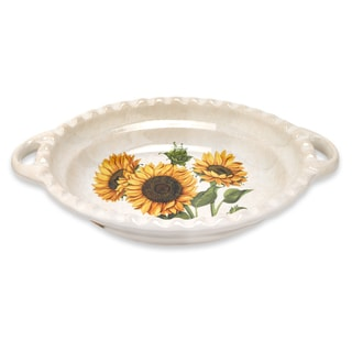 Lorren Home Trends 19-inch Sunflower Oval Bowl with Handles
