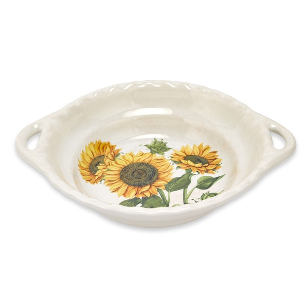 Lorren Home Trends 17-inch Sunflower Round Bowl with Handles