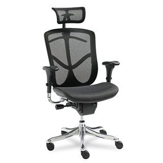 Alera EQ Series Aluminum Base Ergonomic Multifunction High-Back Mesh Chair