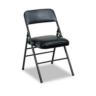 Cosco Deluxe Black Vinyl Padded Seat & Back Folding Chairs (Set of 4)