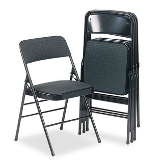 Cosco Deluxe Cavallaro Black Fabric Padded Seat & Back Folding Chairs (Set of 4)