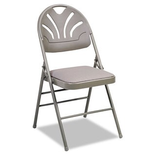 Cosco Kinnear Taupe Fabric Padded Seat/Molded Fan Back Folding Chair