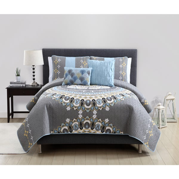 Marrakech Reverse to Solid 5-piece Quilt Set
