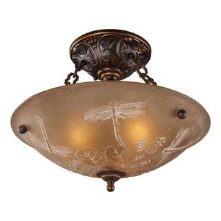 Cornerstone 16-inch Golden Bronze Restoration 3-light Semi Flush