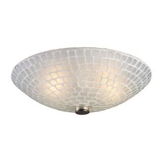 Cornerstone Satin Nickel/ White Mosaic Glass Fusion 2-light Semi Flush