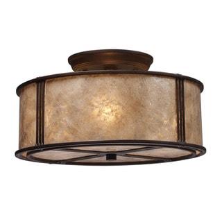 Cornerstone Aged Bronze/ Tan Mica Shade Barringer 3-light Semi Flush