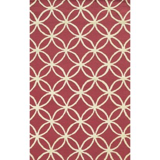 Rizzy Home Eden Harbor Hand-Tufted Pink Geometric Blended Wool Area Rug (9' x 12')
