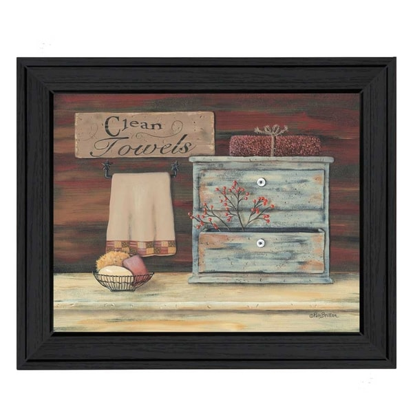 """Clean Towels"" By Pam Britton, Printed Wall Art, Ready To Hang Framed Poster, Black Frame 15678742"