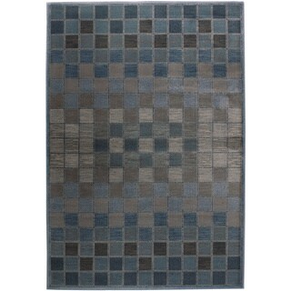 Rizzy Home Bellevue Blue Abstract Area Rug (3'3 x 5'3)