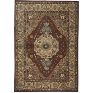 Rizzy Home Bellevue Red Abstract Area Rug (6'7 x 9'6)