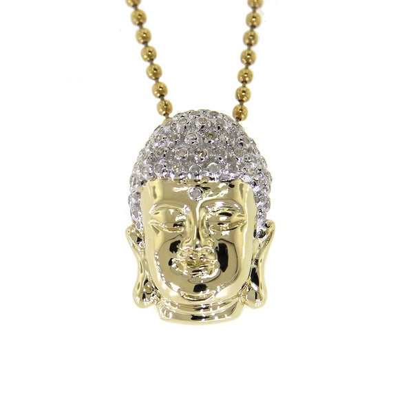 Sterling Silver 2/5ct TDW Diamond Buddha Head Pendant Necklace (I2-I3, G-H)